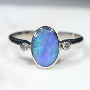 Australian Solid Boulder Opal and Diamond Silver Ring - Size 5.5 Code - SRD74