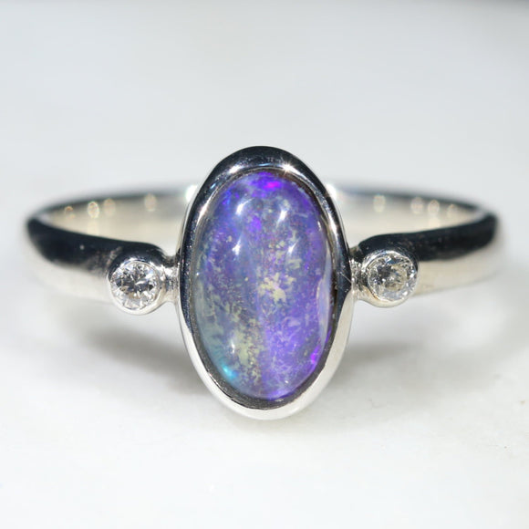 Australian Solid Boulder Opal and Diamond Silver Ring - Size 5.5 Code - SRD95