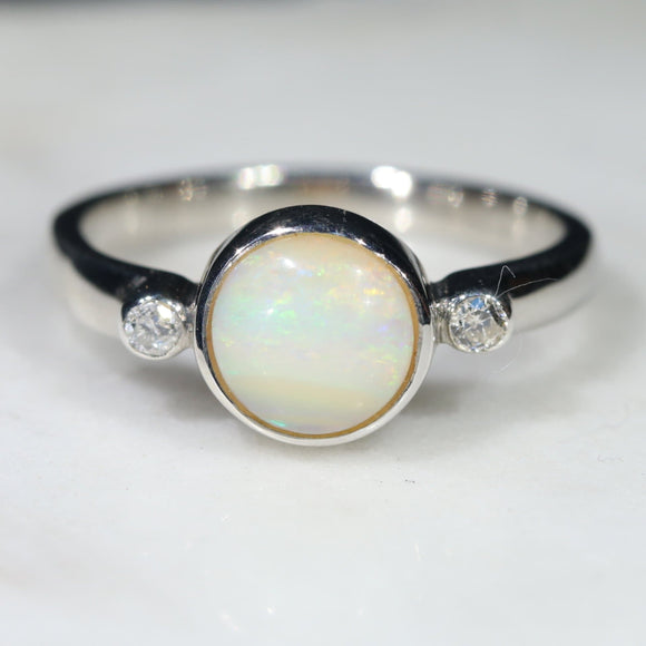 Australian Solid Boulder Opal and Diamond Silver Ring - Size 5.5 Code - SRD54