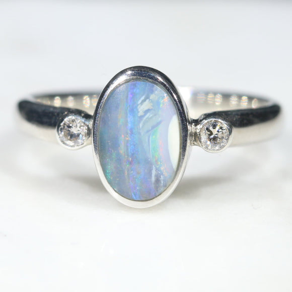 Australian Solid Boulder Opal and Diamond Silver Ring - Size 5 Code - SRD88
