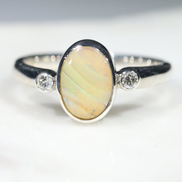 Australian Solid Boulder Opal and Diamond Silver Ring - Size 5.5 Code - SRD93