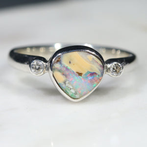 Australian Solid Boulder Opal and Diamond Silver Ring - Size 5.5 Code - SRD52