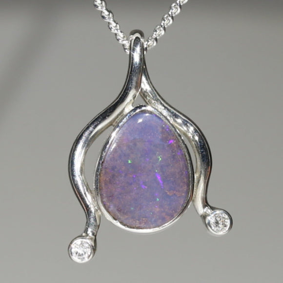 Natural Australian Boulder Opal and Diamond Silver Pendant with Silver Chain Code -E09