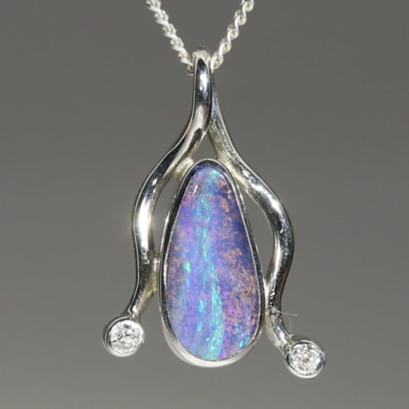 Natural Australian Boulder Opal and Diamond Silver Pendant with Silver Chain Code -E08
