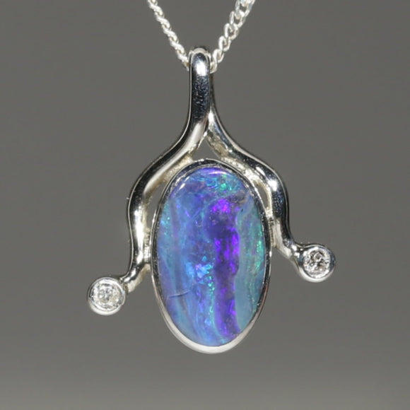 Natural Australian Boulder Opal and Diamond Silver Pendant with Silver Chain Code -E11