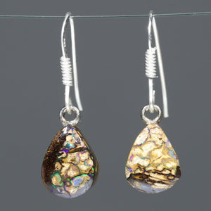 Australian Boulder Opal Matrix Silver Earrings Code -ERJ1