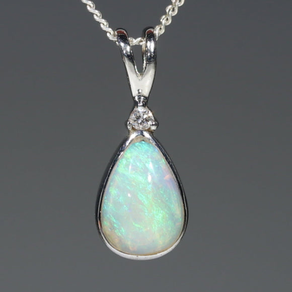 Natural Australian Boulder Opal and Diamond Silver Pendant with Silver Chain Code -SD13