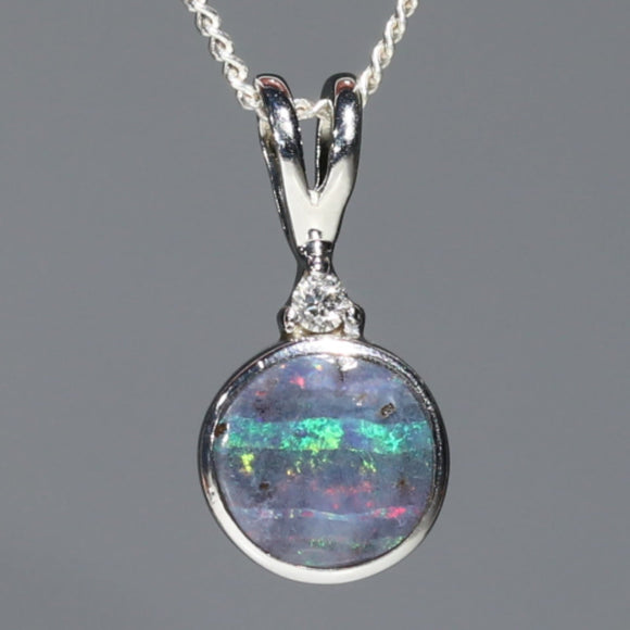 Natural Australian Boulder Opal and Diamond Silver Pendant with Silver Chain