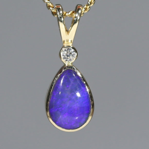 Natural Australian Opal and Diamond Pendant 18k Gold Code GPA140 Victoria