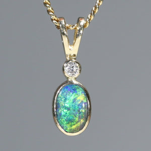 Natural Australian Boulder Opal and Diamond 18k Gold Pendant