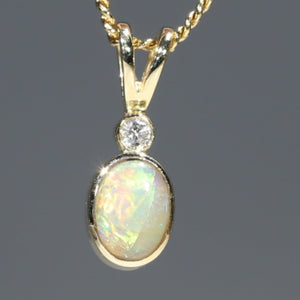 Natural Australian Boulder Opal and Diamond 18k Gold Pendant Code -GPA135