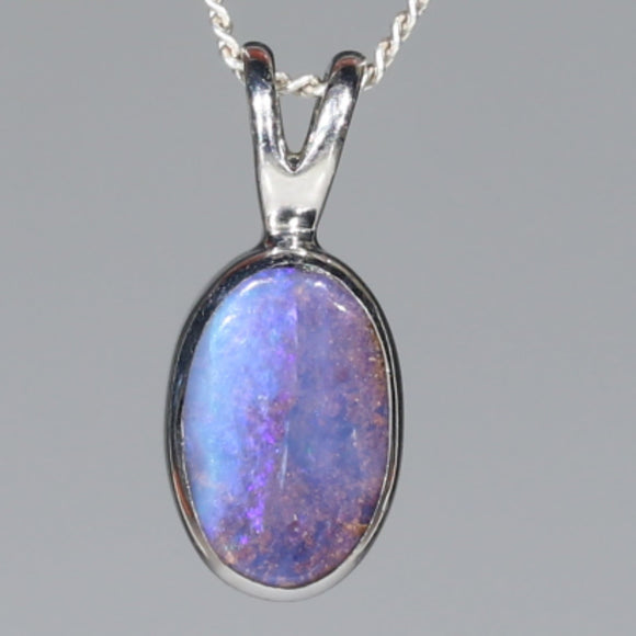 Natural Australian Boulder Opal  Silver Pendant with Silver Chain Code - SPA264