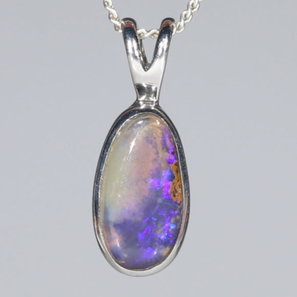 Natural Australian Boulder Opal  Silver Pendant with Silver Chain Code -SPA259
