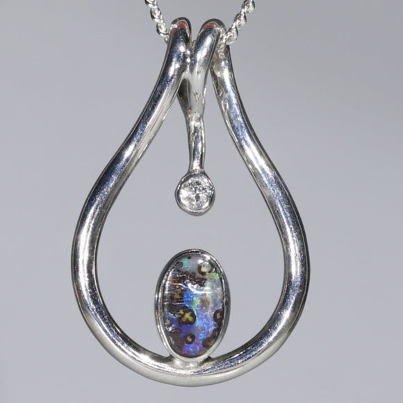 Natural Australian Boulder Opal and Diamond Silver Pendant with Silver Chain Code -SD50