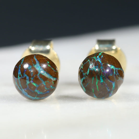 Natural Australian 5.5mm Boulder Opal Matrix Gold Earring Studs