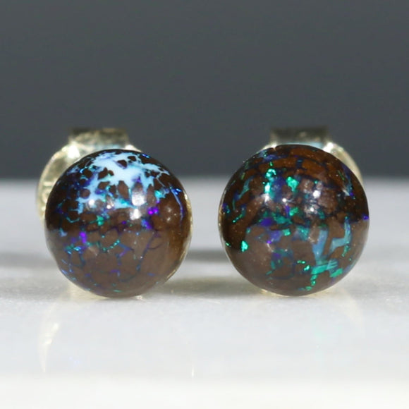 Opal Earrings Gold Studs