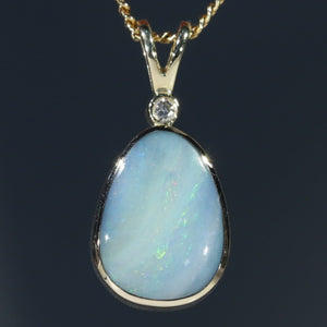 Natural  Australian Boulder  Opal  and Diamond Gold Pendant Code -GPA152
