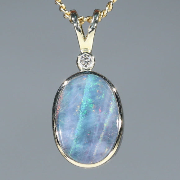 Australian Boulder Opal and Diamond Gold Pendant Code -GPA150 NSW