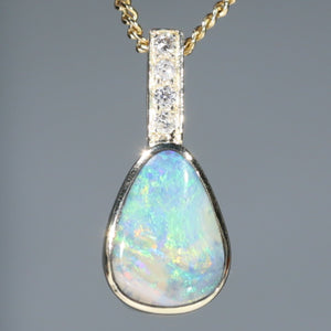 Natural  Australian Boulder  Opal  and Diamond Gold Pendant Code -GPA143
