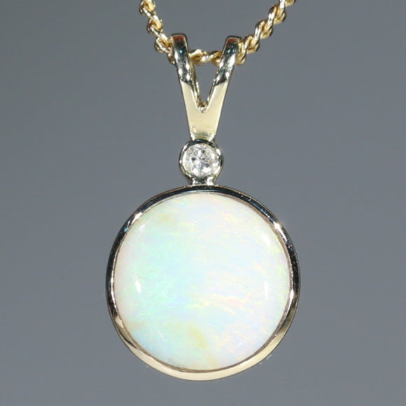 Natural  Aulstralian Boulder  Opal  and Diamond Gold Pendant