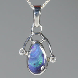 Natural Australian Boulder Opal and Diamond Silver Pendant with Silver Chain Code -SD46