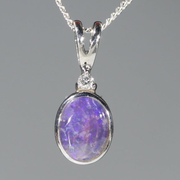 Natural Australian Boulder Opal and Diamond Silver Pendant with Silver Chain Code -SD14
