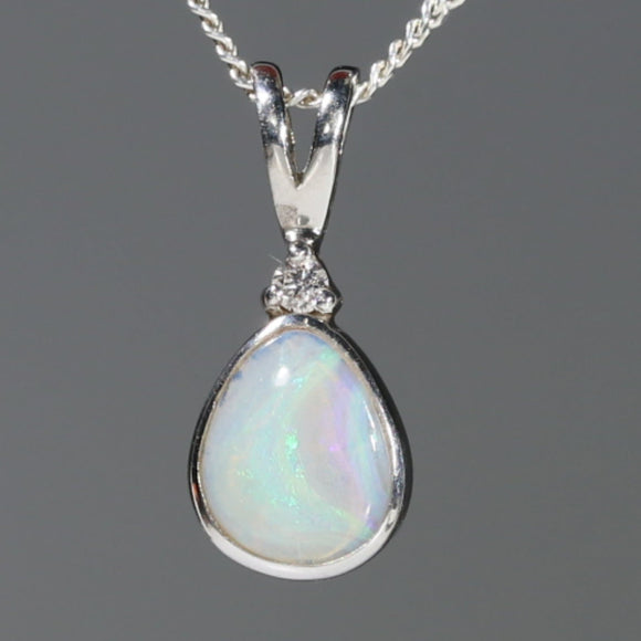 Natural Australian Boulder Opal and Diamond Silver Pendant with Silver Chain Code -SD11