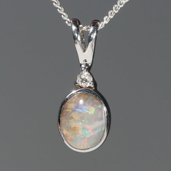 Natural Australian Boulder Opal and Diamond Silver Pendant with Silver Chain Code -SD40