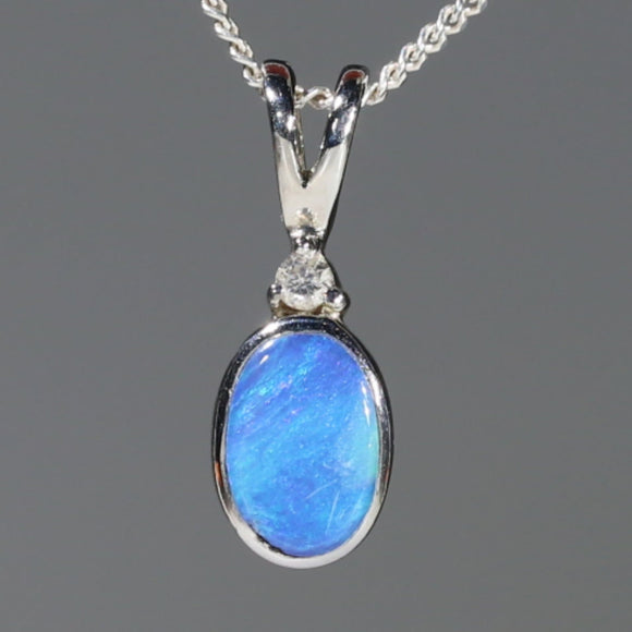 Natural Australian Boulder Opal and Diamond Silver Pendant with Silver Chain Code -SD37