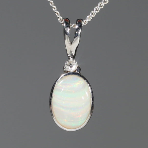 Natural Australian Boulder Opal and Diamond Silver Pendant with Silver Chain Code -SD23