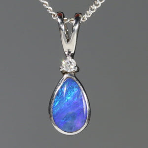 Natural Australian Boulder Opal and Diamond Silver Pendant with Silver Chain Code -SD21