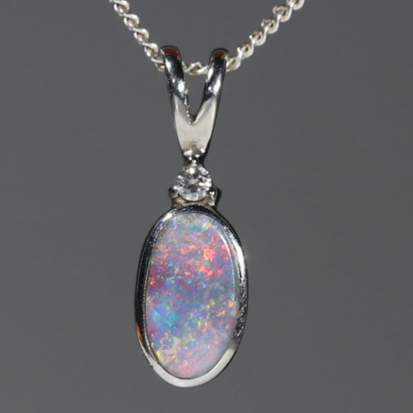 Natural Australian Boulder Opal and Diamond Silver Pendant with Silver Chain Code -SD07