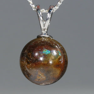 Opal Matrix Silver Ball Pendant