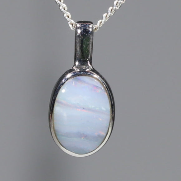 Natural Australian Boulder Opal Silver Pendant with Silver Chain Code -SDA249