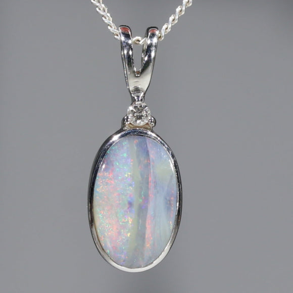 Natural Australian Boulder Opal and Diamond Silver Pendant with Silver Chain Code -SD34