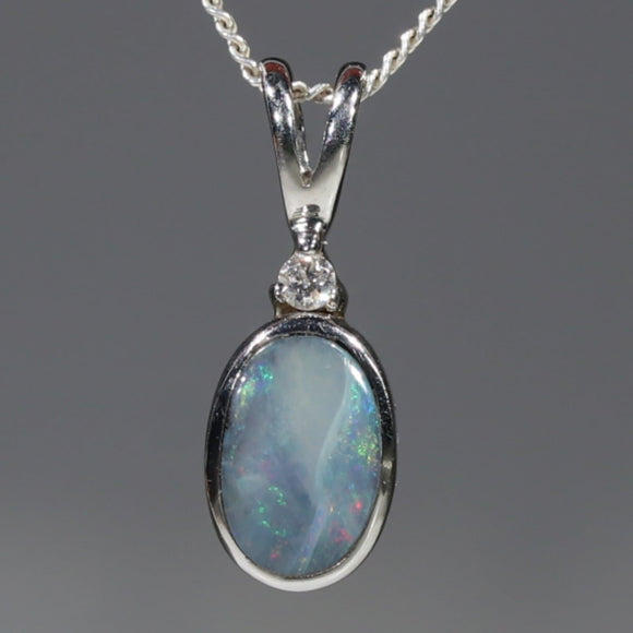Natural Australian Boulder Opal and Diamond Silver Pendant with Silver Chain Code -SD08