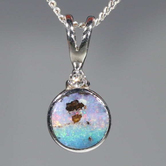 Natural Australian Boulder Opal and Diamond Silver Pendant with Silver Chain Code -SD36