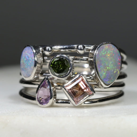 Opal and Gemstone Silver Ring