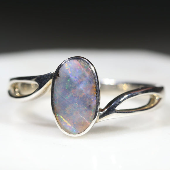 Natural Australian Boulder Opal Silver Ring - Size 11.5 Code - R251