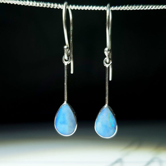 Natural Australian Boulder Opal  Silver  Earrings