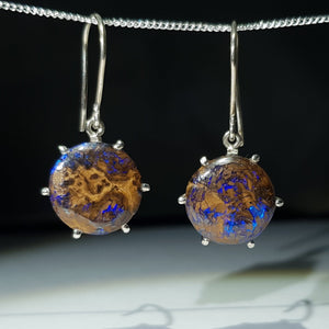 Australian Opal Matrix Silver Earrings