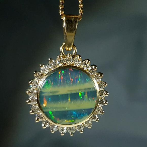 Natural opal mossy rainbow 18k gold pendant