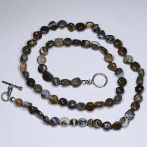 "Natural Boulder Opal 18"" Long, Beaded Necklace"