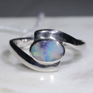 Natural Australian Opal Silver Ring - Size 7.5