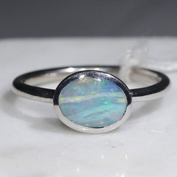 Natural Australian Opal Silver Ring - Size 7.75