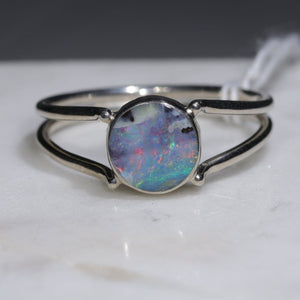 Opal Silver Ring - Size 8.5