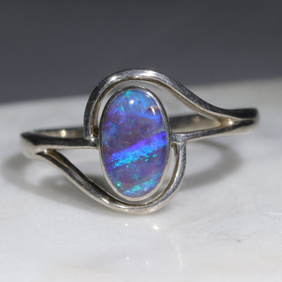 Australian Solid Boulder Opal Silver Ring - Size 9.5