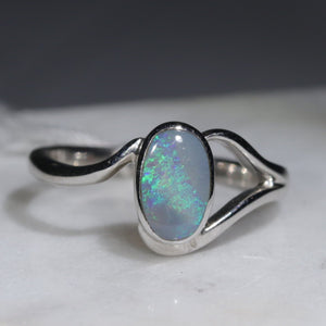 Natural Australian Opal Silver Ring - Size 6