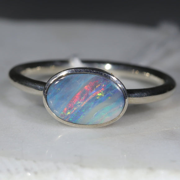 Natural Australian Opal Silver Ring - Size 11.5