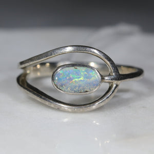Natural Australian Opal Silver Ring - Size  7.75 Code - SR304
